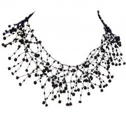 Illusion Black Bead Floating Choker Cascade Necklace