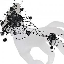 Black Floating Bead Cascade Ring Beaded Statement Flower Slave Bracelet