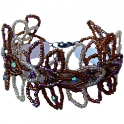 Handmade Costume Jewellery Accessoies, Fashion Women Girls Handcrafted Gift, Brown Beaded Flower Link Bracelet