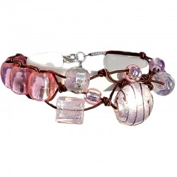 Handcrafted Costume Jewellery Accessoies, Fashion Young Women Small Gift, Pink Venetian Glass Knot Brown Cord Bracelet