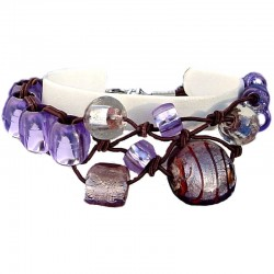 Handcrafted Costume Jewellery Accessoies, Fashion Women handmade Small Gift, Purple Venetian Glass Knot Brown Cord Bracelet