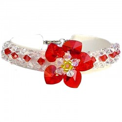 Handcrafted Costume Jewellery Accessories, Fashion Women Gifts, Red Crystal Bead Heart Beaded Flower Weaving Bracelet