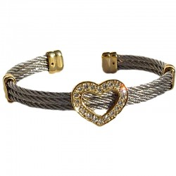 Dressy Costume Jewellery Cuff Bracelet Accessories, Fashion Women Love Gift, Silver & Gold Plated Heart Oval Bangle