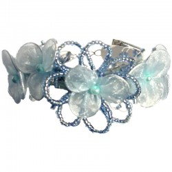 Blue Bead Silk Flower Multi Strand Cord Bracelet