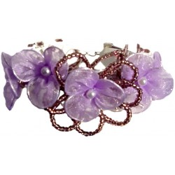 Purple & lilac Bead Silk Flower Multi Strand Cord Bracelet