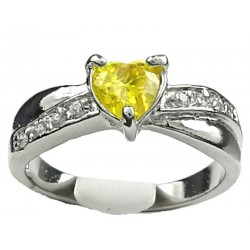 Costume Jewellery Dress Rings, Fashion Women Girls Gift, Yellow Diamante Love Heart Crossover Ring