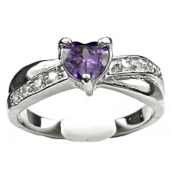 Purple Diamante Heart Love Crossover Dress Ring