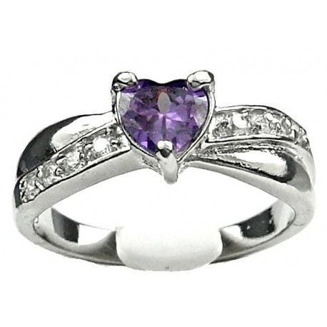 Costume Jewellery Rings, Fashion Women Girls Gift, Purple Diamante Heart Love Crossover Dress Ring