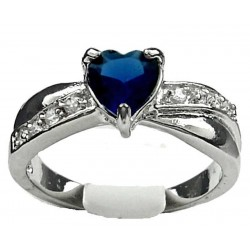 Costume Jewellery Dress Rings, Fashion Women Girls Gift, Royal Blue Diamante Heart Love Crossover Ring