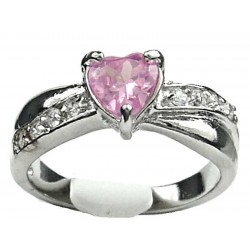 Costume Jewellery Dress Rings, Fashion Women Girls Gift, Pink Diamante Love Heart Crossover Ring