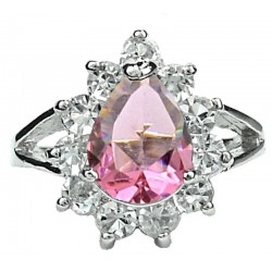 Pink Pear Shaped Rhinestone Teardrop Halo Clear Diamante Cluster Dress Ring
