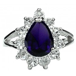 Purple Pear Shaped Rhinestone Teardrop Halo Clear Diamante Cluster Dress Ring