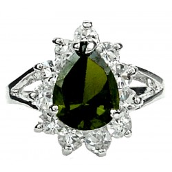 Green Pear Shaped Rhinestone Teardrop Halo Clear Diamante Cluster Dress Ring