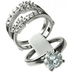 Clear Diamante 2 Piece Duo Interchangeable Two in One Ring Set