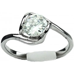 Halo Twist CZ Clear Cubic Zirconia Solitaire Dress Ring