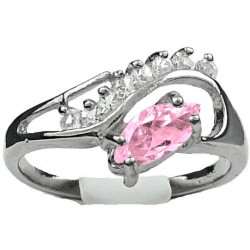 Pink Marquise Rhinestone Clear Diamante Twisted Wave Swirl Dress Ring