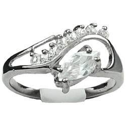 Clear Marquise Rhinestone Clear Diamante Twisted Wave Swirl Dress Ring