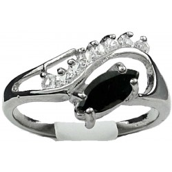 Black Marquise Rhinestone Clear Diamante Twisted Wave Swirl Dress Ring