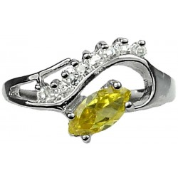 Yellow Marquise Rhinestone Clear Diamante Twisted Wave Swirl Dress Ring
