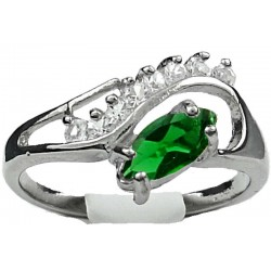 Emerald Green Marquise Rhinestone Clear Diamante Twisted Wave Swirl Dress Ring