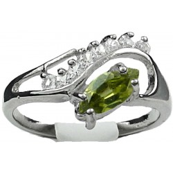 Olive Green Marquise Rhinestone Clear Diamante Twisted Wave Swirl Dress Ring