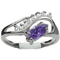 Purple Marquise Rhinestone Clear Diamante Twisted Wave Swirl Dress Ring