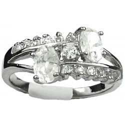 Double Clear Oval Rhinestone Double Row Clear Diamante Split Shank Twist Dress Ring