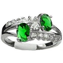 Double Emerald Green Oval Rhinestone Double Row Clear Diamante Split Shank Twist Dress Ring