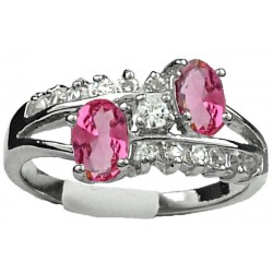 Double Pink Oval Rhinestone Double Row Clear Diamante Split Shank Twist Dress Ring