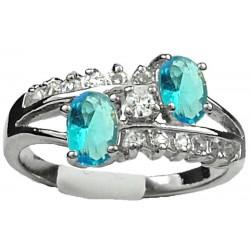 Fashion Woman Girl Gifts, Unusual Costume Jewellery Dress Rings, Blue Oval Rhinestone Clear Diamante Split Shank Twist Ring