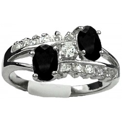 Double Black Oval Rhinestone Double Row Clear Diamante Split Shank Twist Dress Ring