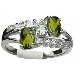 Double Olive Green Oval Rhinestone Double Row Clear Diamante Split Shank Twist Dress Ring
