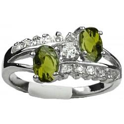Fashion Woman Girl Gift, Costume Jewellery Dress Rings, Double Olive Green Oval Rhinestone Clear Diamante Split Shank Twist Ring