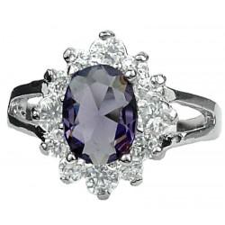 Costume Jewellery Dress Rings, Fashion women Girl Gift, Purple Oval Rhinestone Clear Diamante Halo Cluster Split Shank Ring