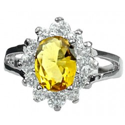 Woman Girl Gift, Small Costume Jewellery Dress Rings, Yellow Oval Rhinestone Clear Diamante Halo Cluster Split Shank Ring