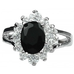 Costume Jewellery Small Rings, Girls Women Gift, Black Oval Rhinestone Clear Diamante Halo Cluster Split Shank Dress Ring