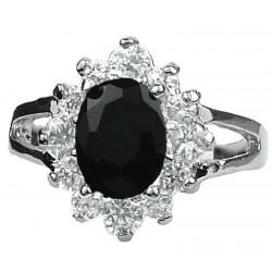 Costume Jewellery Small Rings, Girls Women Gift, Black Oval Rhinestone Clear Diamante Halo Cluster Split Shank Dress Ring