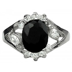 Fashion Women Girls Gifts, Costume Jewellery Rings, Black Oval Rhinestone Clear Diamante Halo Cluster Dress Ring