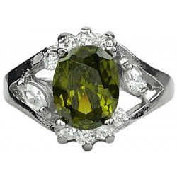 Fashion Girls Women Gifts, Costume Jewellery Dress Rings, Olive Green Oval Rhinestone Clear Diamante Halo Cluster Ring