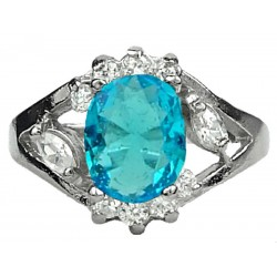 Young Women Girls Fashion Gifts, Costume Jewellery Halo Cluster Rings, Blue Oval Rhinestone Clear Diamante Dress Ring