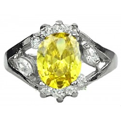 Girls Young Women Gifts, Costume Jewellery Fashion Dress Rings, Yellow Oval Rhinestone Clear Diamante Halo Cluster Ring