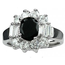 Fashion Girls Women Gifts , Costume Jewellery Dress Rings UK, Black Oval Rhinestone Clear Baguette Cut Diamante Cluster Ring