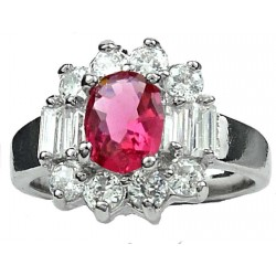 Fashion Women Gifts, Costume Jewellery Dress Rings, Hot Pink Oval Rhinestone Clear Baguette Cut Diamante Cluster Ring