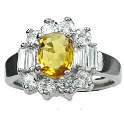 Fashion Women Gifts, Costume Jewellery Rings UK, Yellow Oval Rhinestone Clear Baguette Cut Diamante Cluster Dress Ring