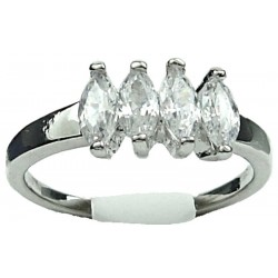 Simple CZ Costume Jewellery Rings UK, Fashion Girls Women Gifts, Four Clear Marquise Cut Cubic Zirconia Dress Ring