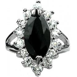Fashion Jewellery Costume Dress Rings, Women Girls Gifts UK, Black Marquise Cut Rhinestone Clear Diamante Halo Cluster Ring
