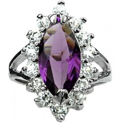 Split Shank Purple Marquise Cut Rhinestone Clear Diamante Halo Cluster Ring