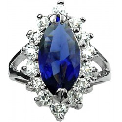 Fashion Women Girls Gifrts, Costume Jewellery Rings, Royal Blue Marquise Cut Rhinestone Clear Diamante Halo Cluster Ring
