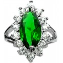 Split Shank Emerald Green Marquise Cut Rhinestone Clear Diamante Halo Cluster Ring