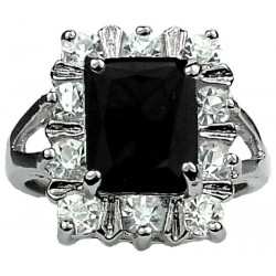 Fashion Woman Girl Gifts, Costume Jewellery Rings UK, Split Shank Black Rectangle Rhinestone Clear Diamante Cluster Ring